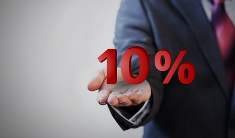 Businessman holding 10%