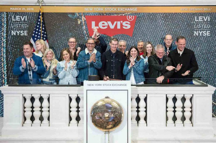 Levi executives at the New York Stock Exchange.