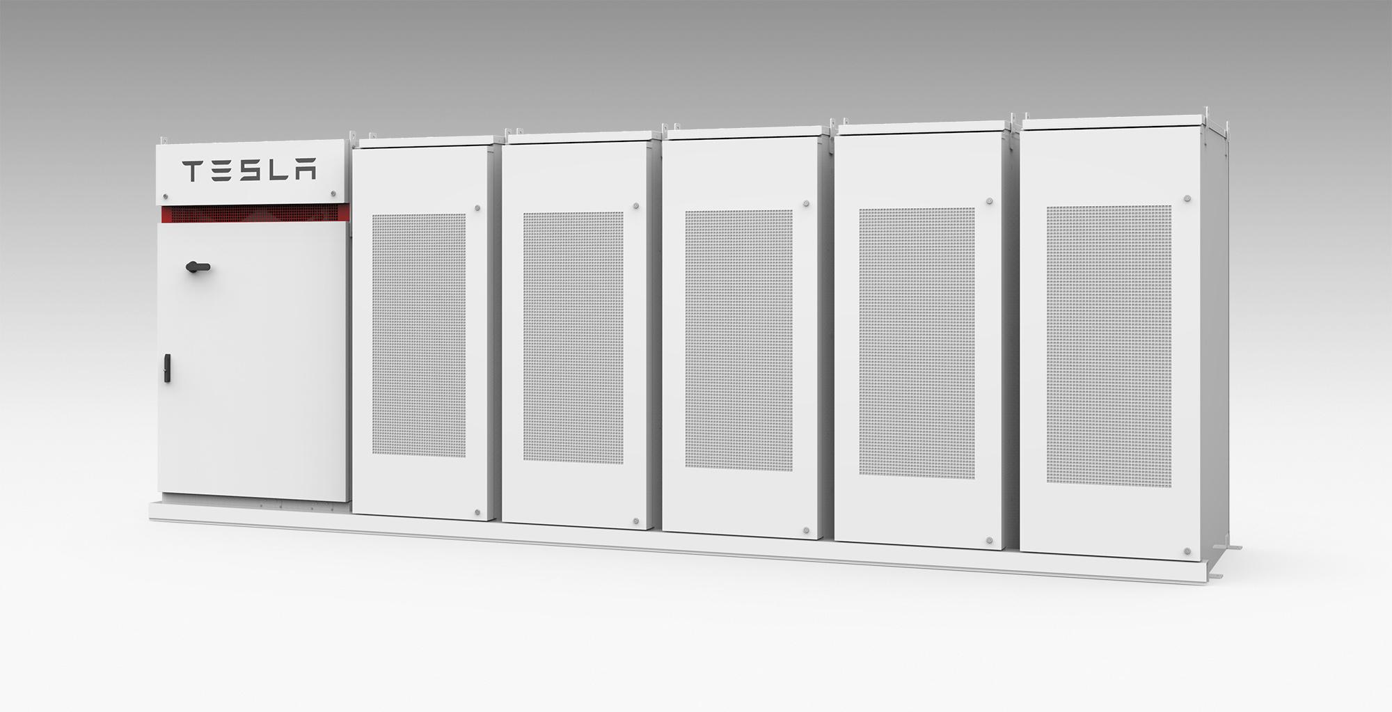 A Tesla Powerback commercial electricity storage unit.