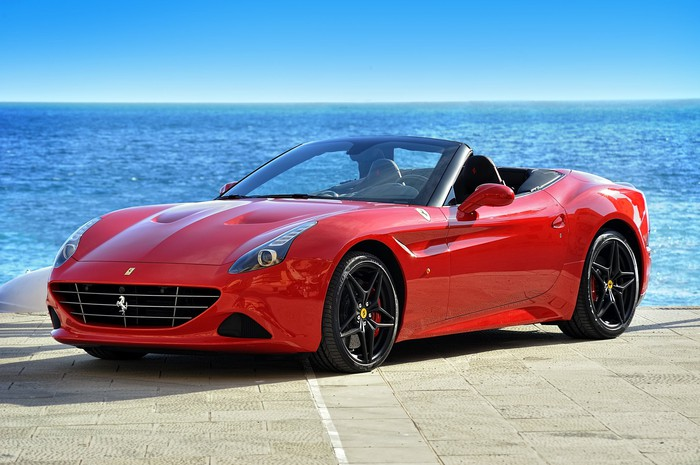 Ferrari California T Handling Speciale on the waterfront of the Mediterranean Sea in Camogli.
