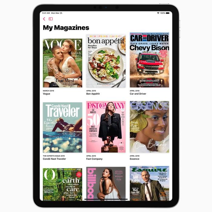 Apple News+ interface displayed on an iPad