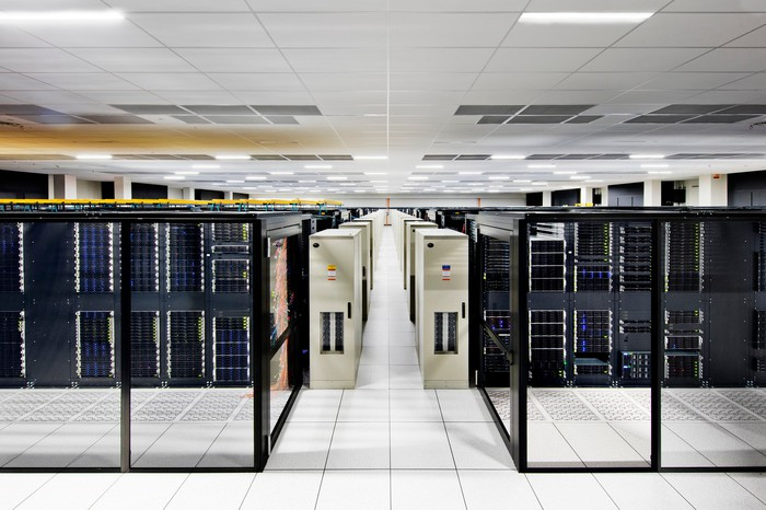 A room filled with data center servers.