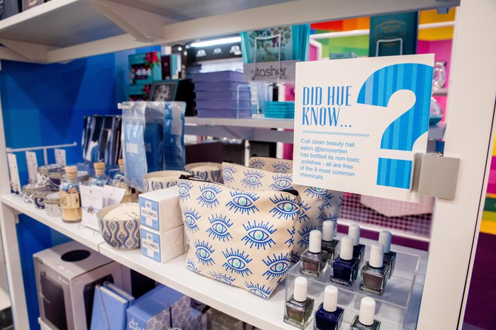 A display of cosmetics products at a Story marketplace.