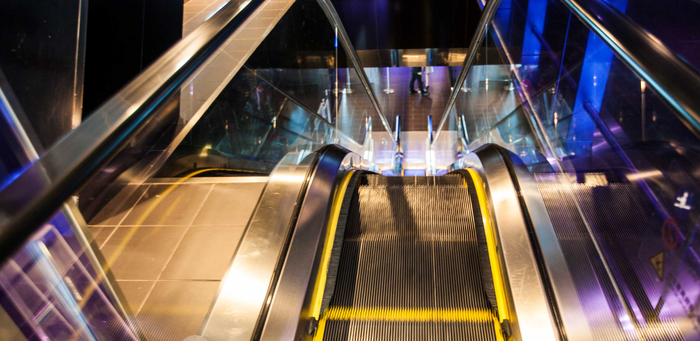 An Otis escalator.