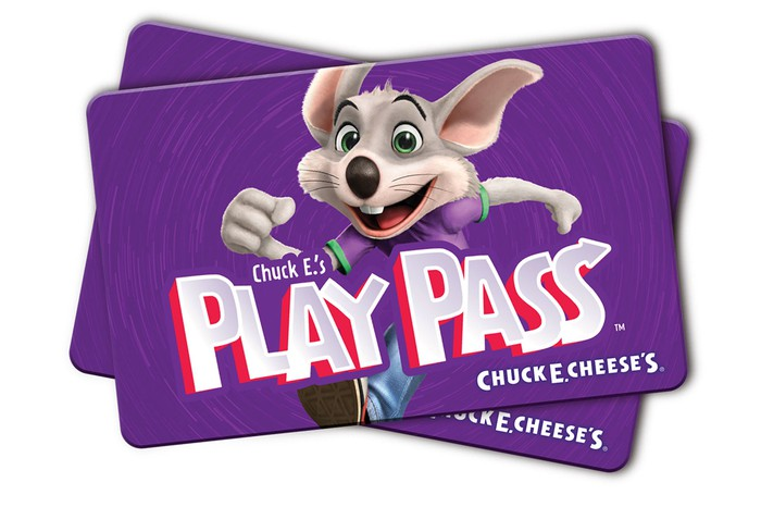 Purple cards marked Play Pass with Chuck E Cheese character on them.