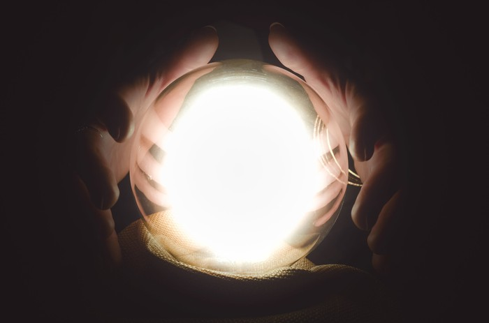 Hands surround a glowing crystal ball.