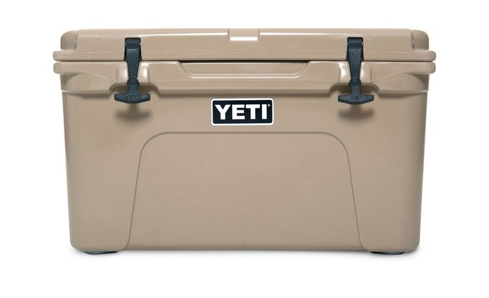 Large beige cooler with Yeti labeling