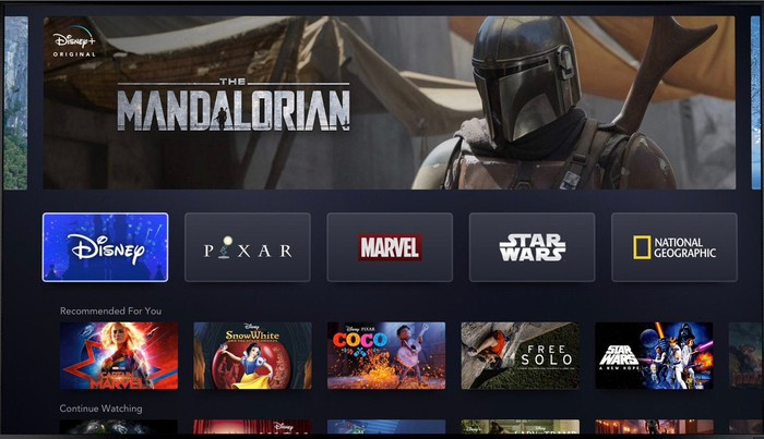 Screen of Disney+ service.