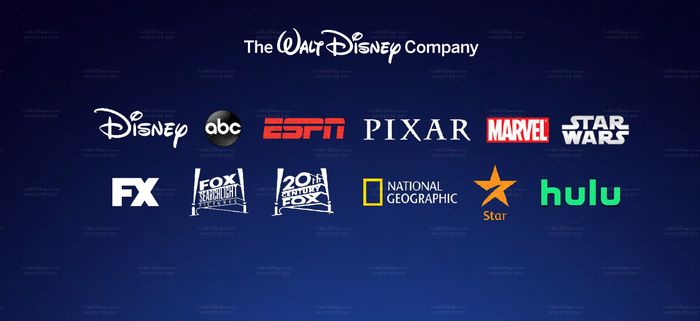 A list of Disney media properties on a blue screen.