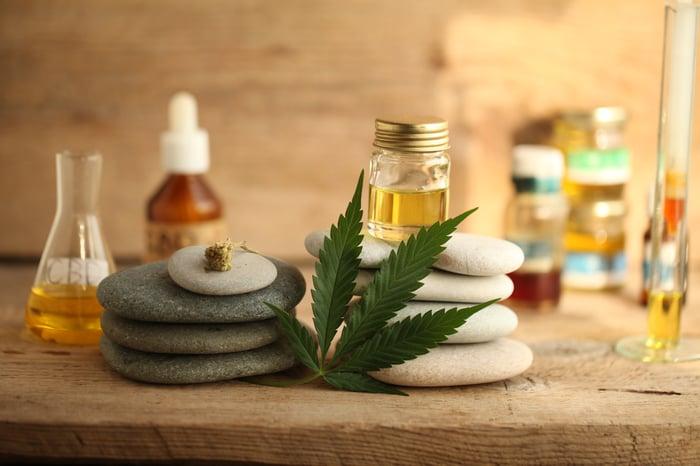 Marijuana leaf and oils.