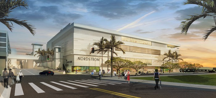 A rendering of a streetscape with a Nordstrom store
