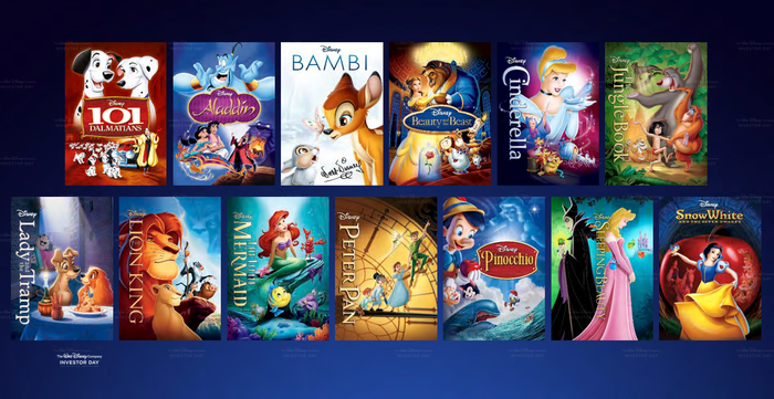 Tiled images of the movies in Disney's Signature Collection including Aladdin, Bambi, and Snow White.
