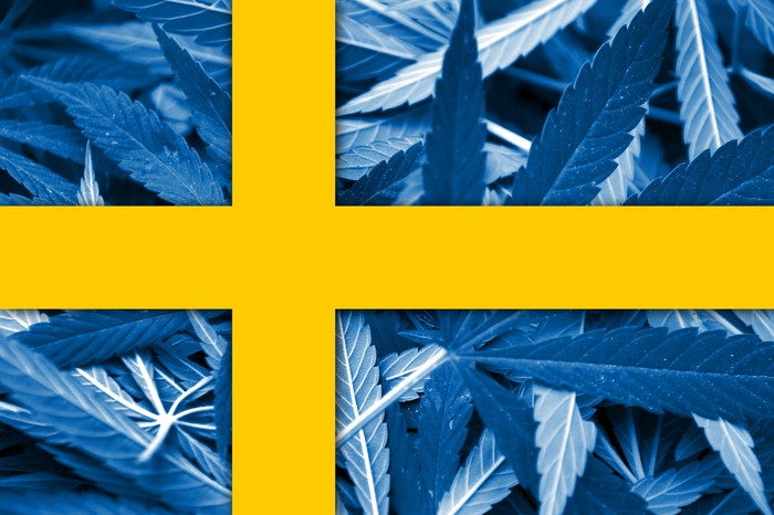 Sweden flag with cannabis background