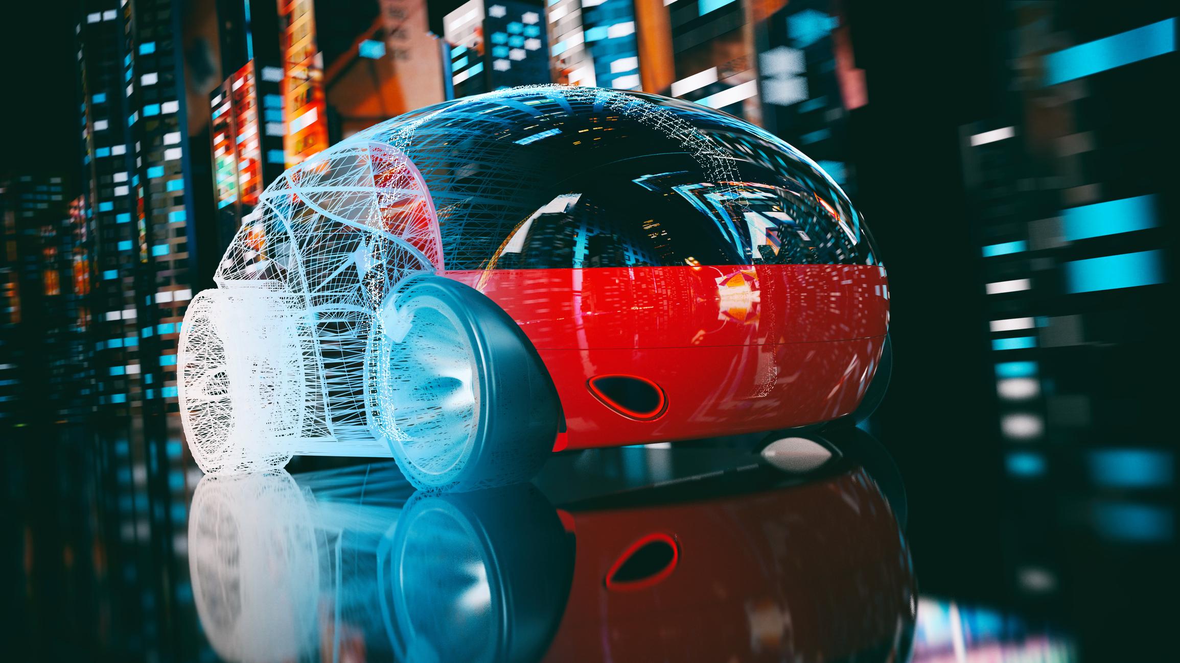 Concept art for a pod-like autonomous vehicle.