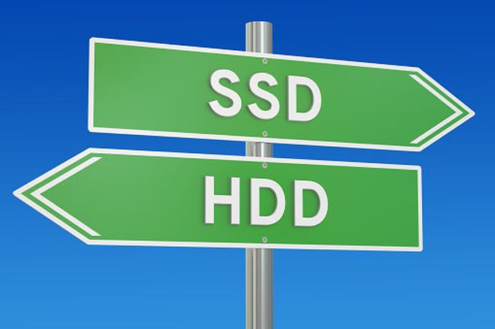 Road signs pointing to SSD and HDD