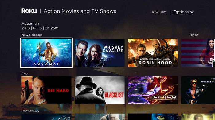 The Roku Channel showing a number of options in the action movie and TV shows category.