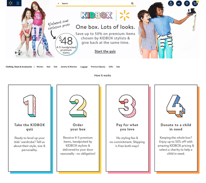 The landing page for Walmart's Kidbox service
