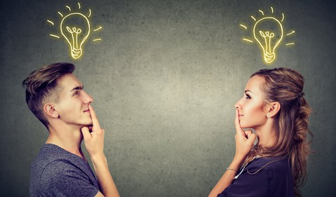 man and woman with an idea bulb