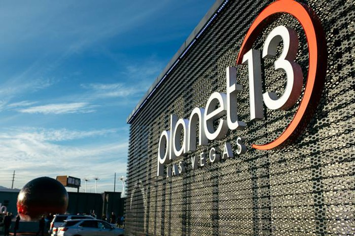 The facade of the entrance to the Planet 13 SuperStore in Las Vegas, Nevada.