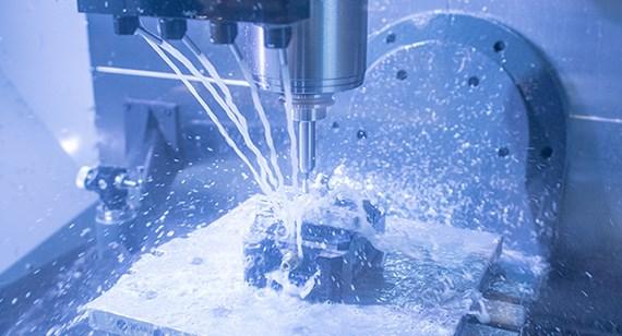 A CNC machine in operation
