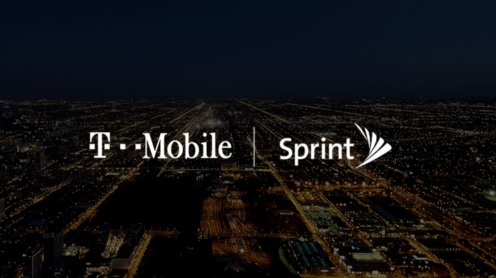 T-Mobile and Sprint logos on a darkened background.