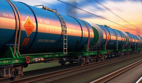 Freight Train With Petroleum Tankers