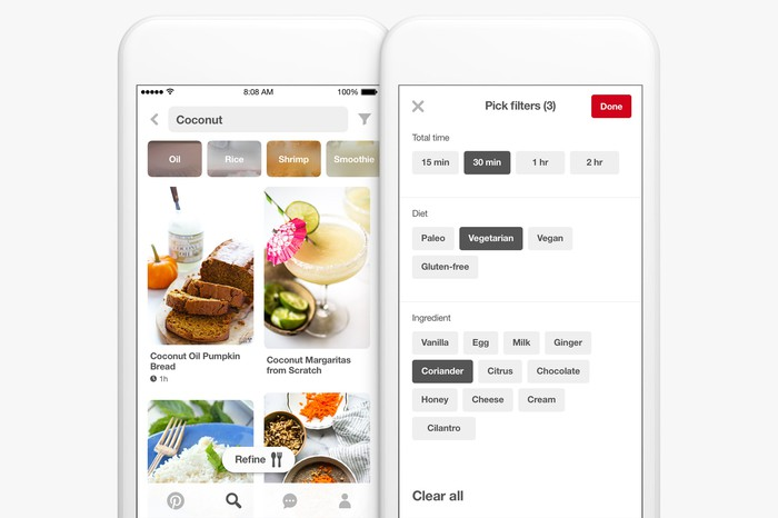 Pinterest on a mobile device.
