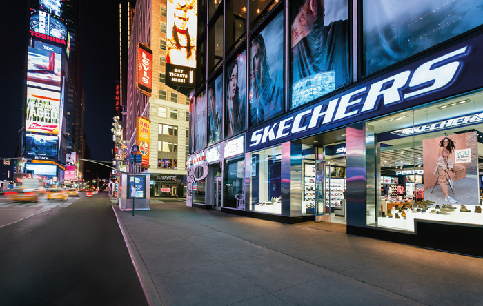 Exterior shot of Skechers store in Times Square.