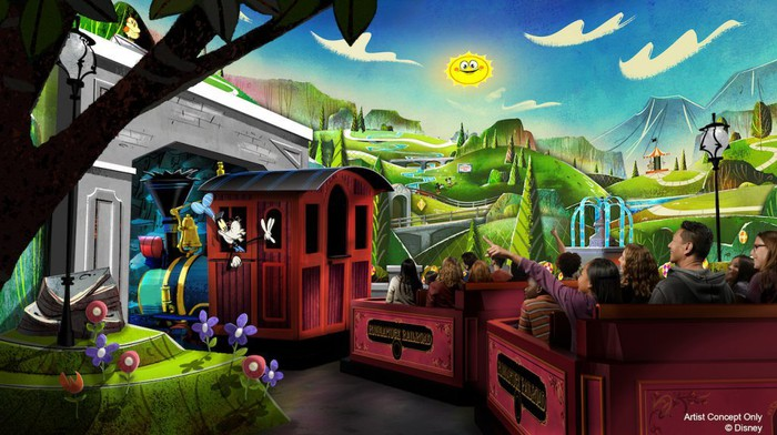 Concept art for Mickey & Minnie's Runaway Railway.