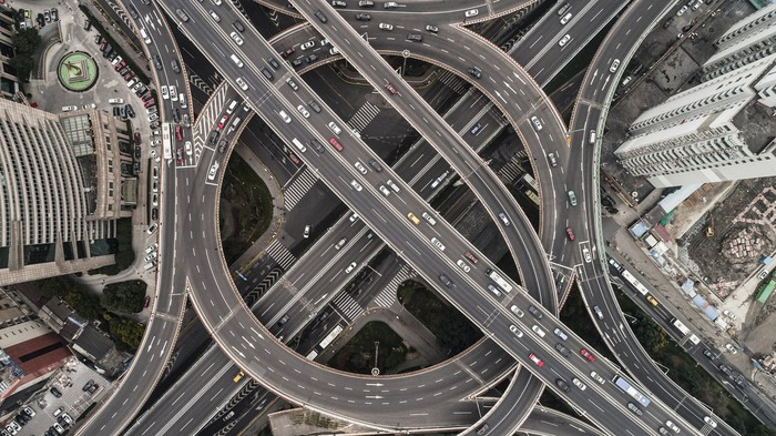 overhead shot of highways and buildings.