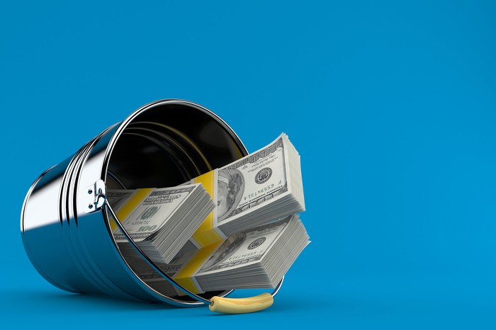Bucket with 3 stacks of money