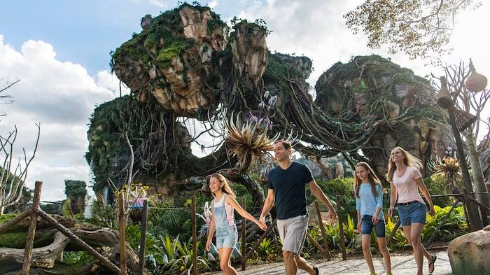 A family walking through Pandora -- The World of Avatar at Disney's Animal Kingdom.