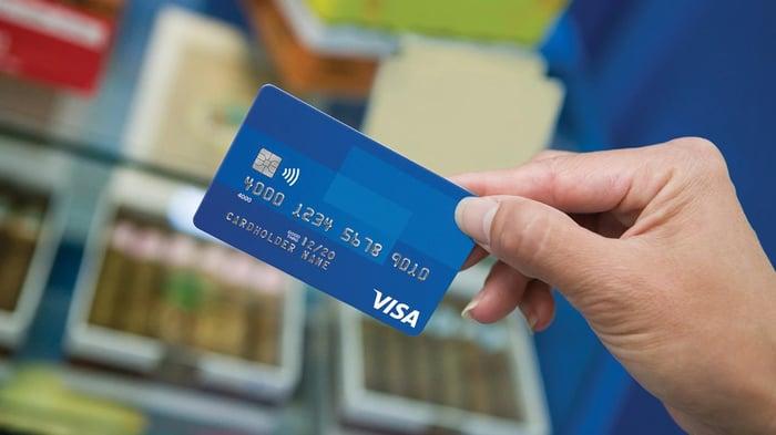 Customer using a Visa card