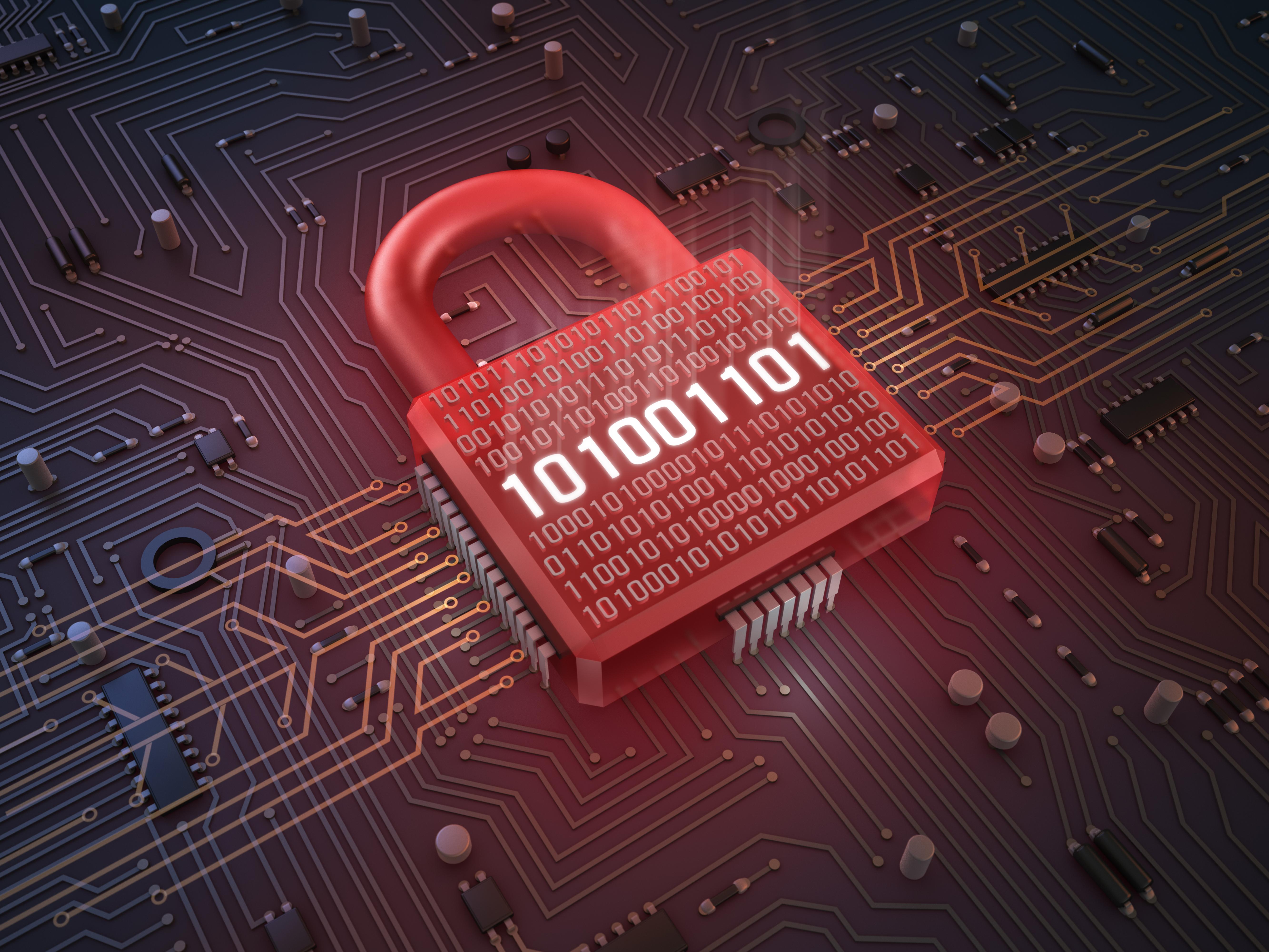 A padlock cybersecurity illustration.