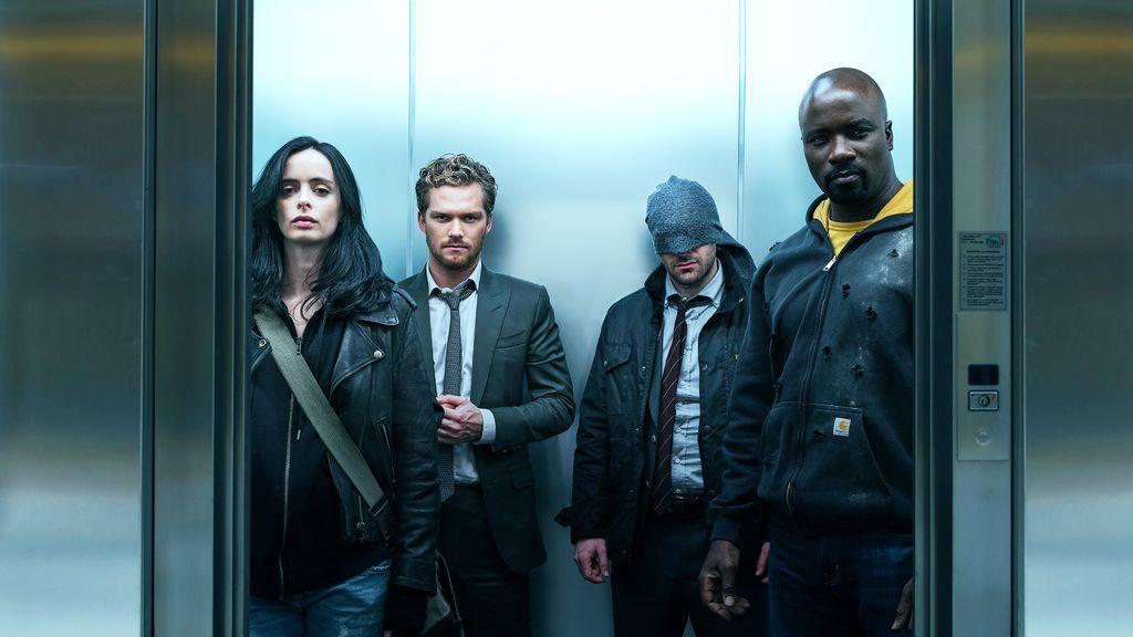 Marvel's Defenders cast on an elevator.