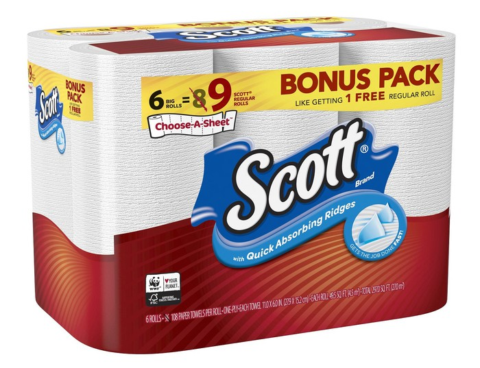 Large package of Scott paper towels.