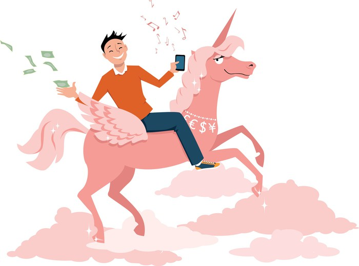Drawing of a man riding a unicorn