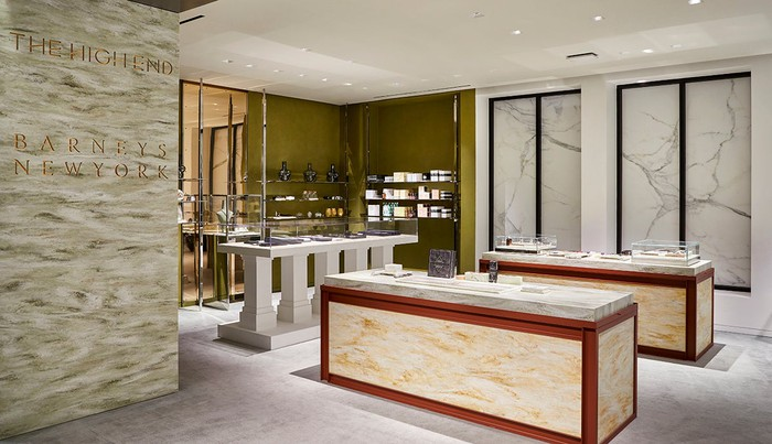 A hero shot of the interior of The High End cannabis shop in Barney's.