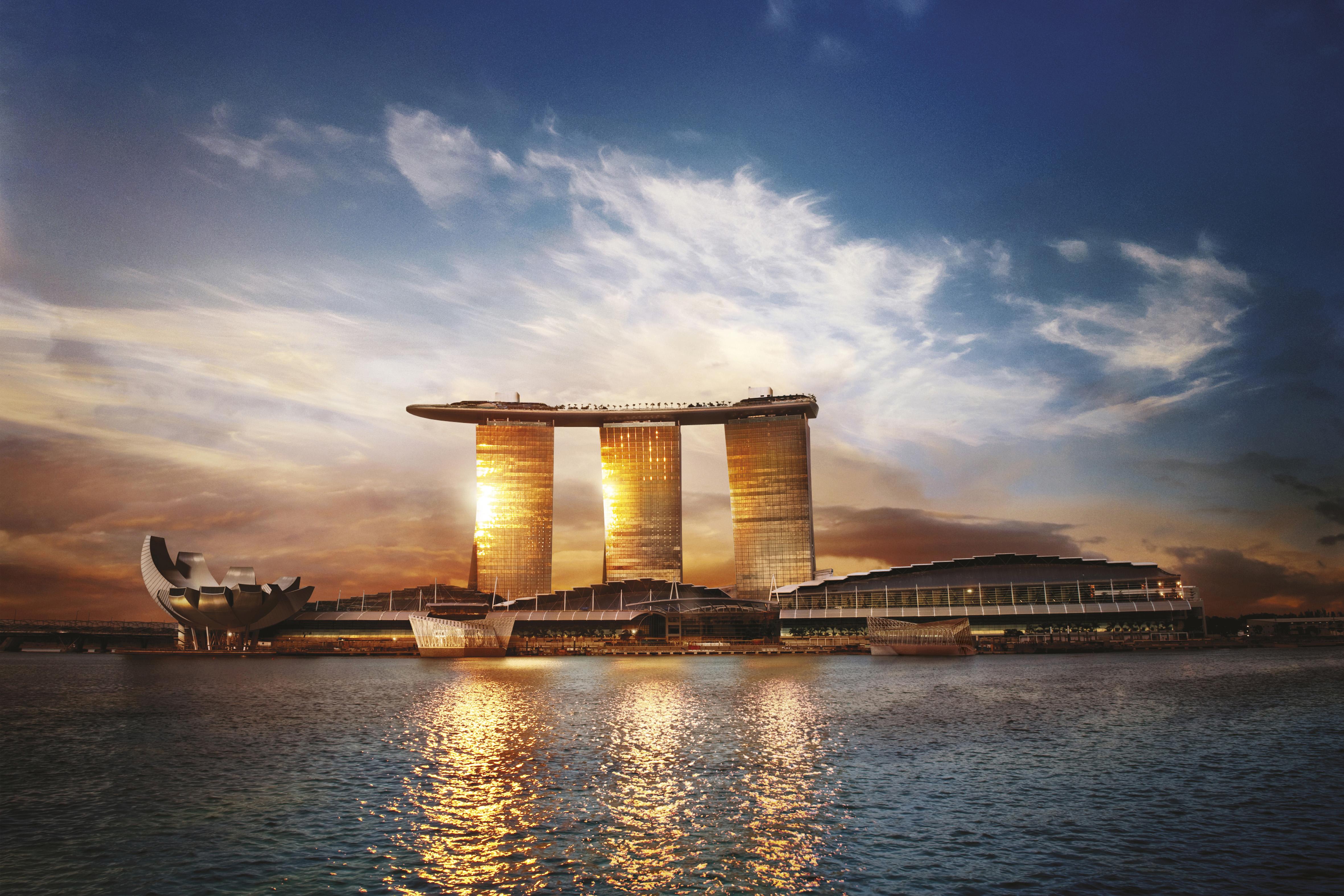 Marina Bay Sands from the sea.