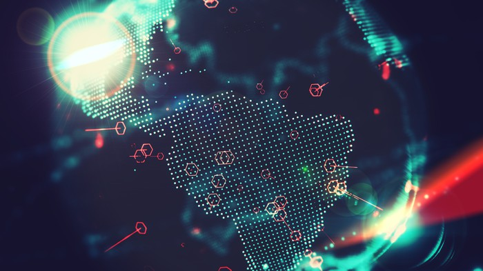 Digital globe focused on South America
