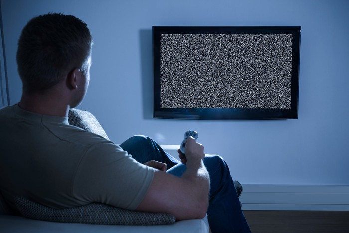 Man watching TV static