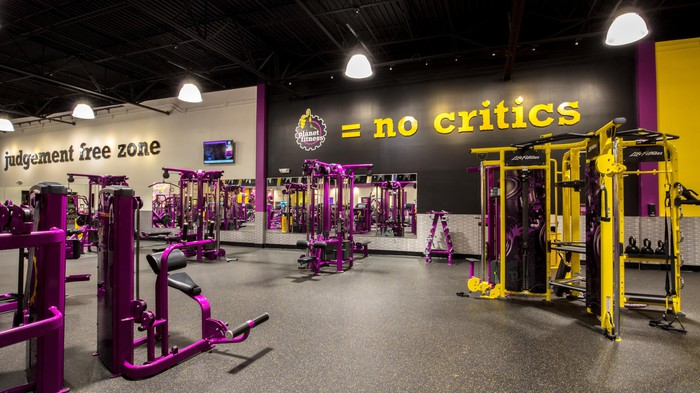 Interior of a Planet Fitness in Birmingham.