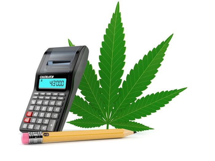 a marijuana leaf with a calculator and pencil.