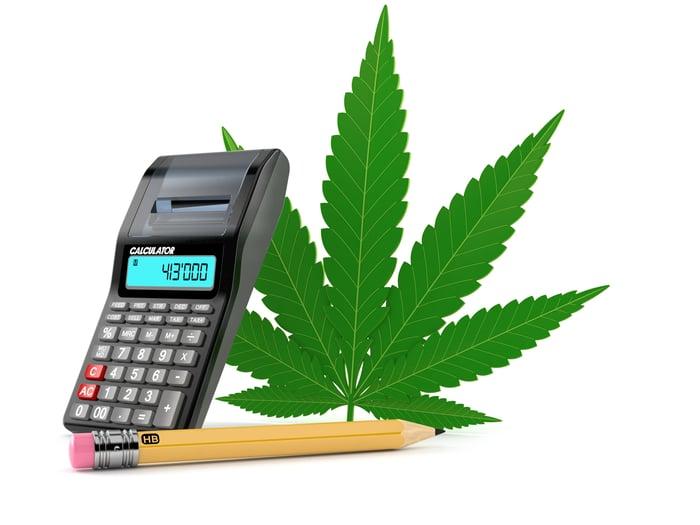 a marijuana leaf with a calculator and pencil.