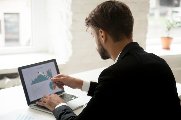 An investor researches an investment online.