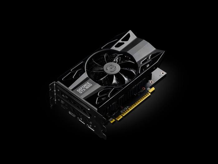 A GTX 1650 graphics card.