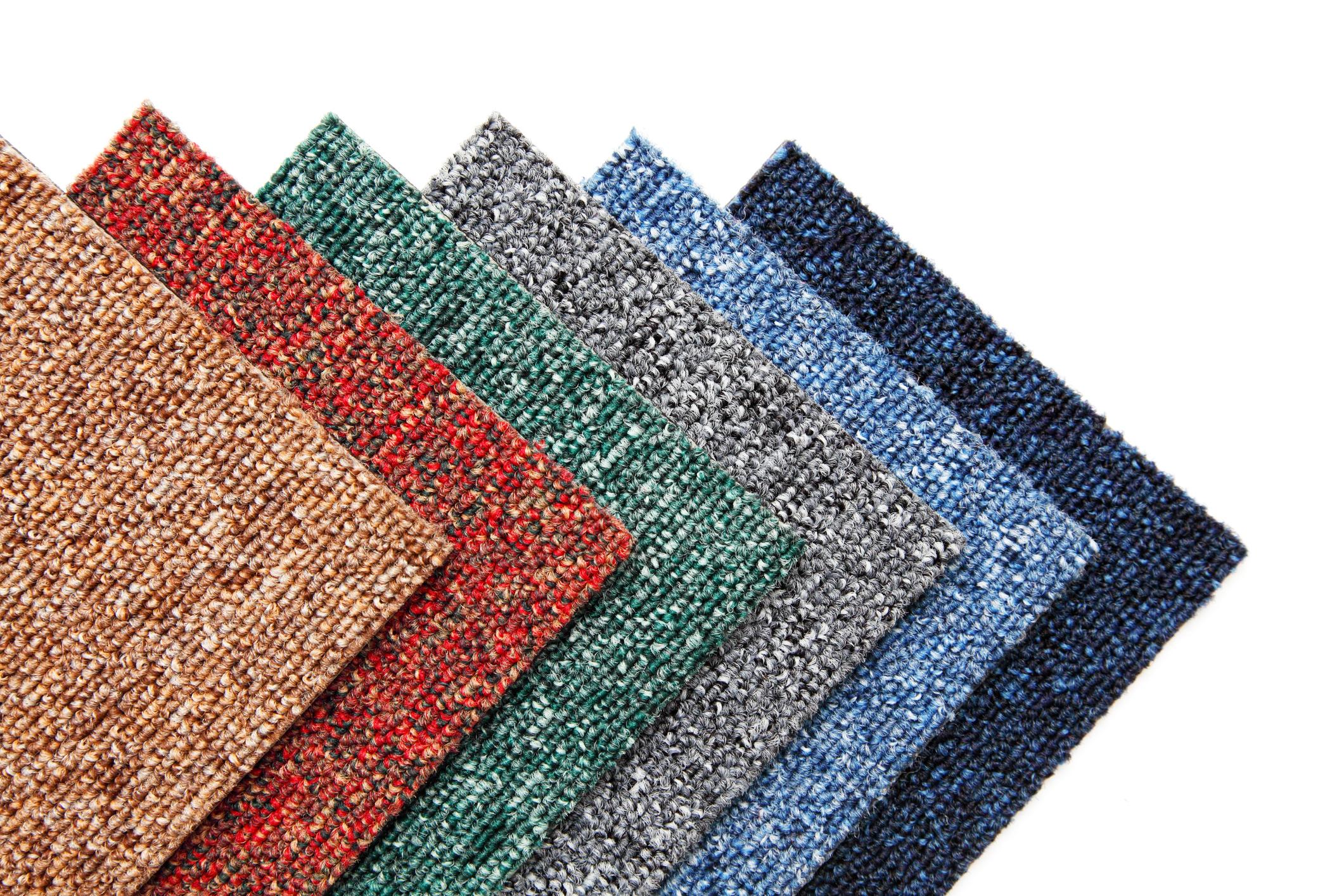 Multicolored carpet tiles.
