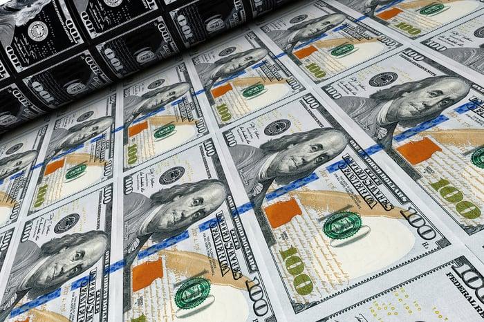 Closeup of sheet of 100 Dollar Bills being printed