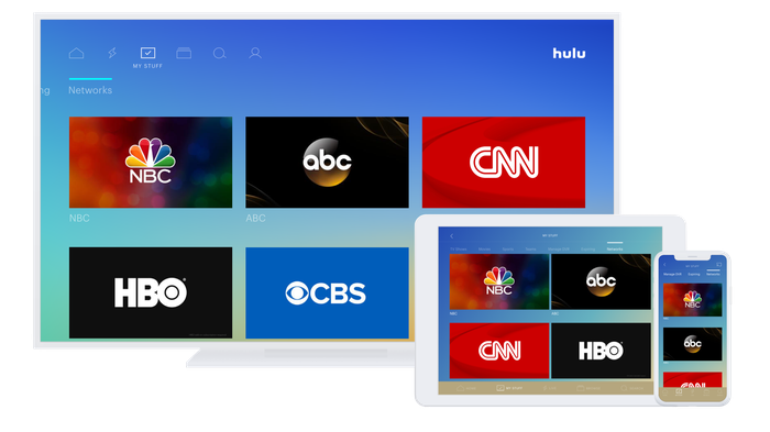 Hulu interface on a computer monitor, tablet, and smartphone