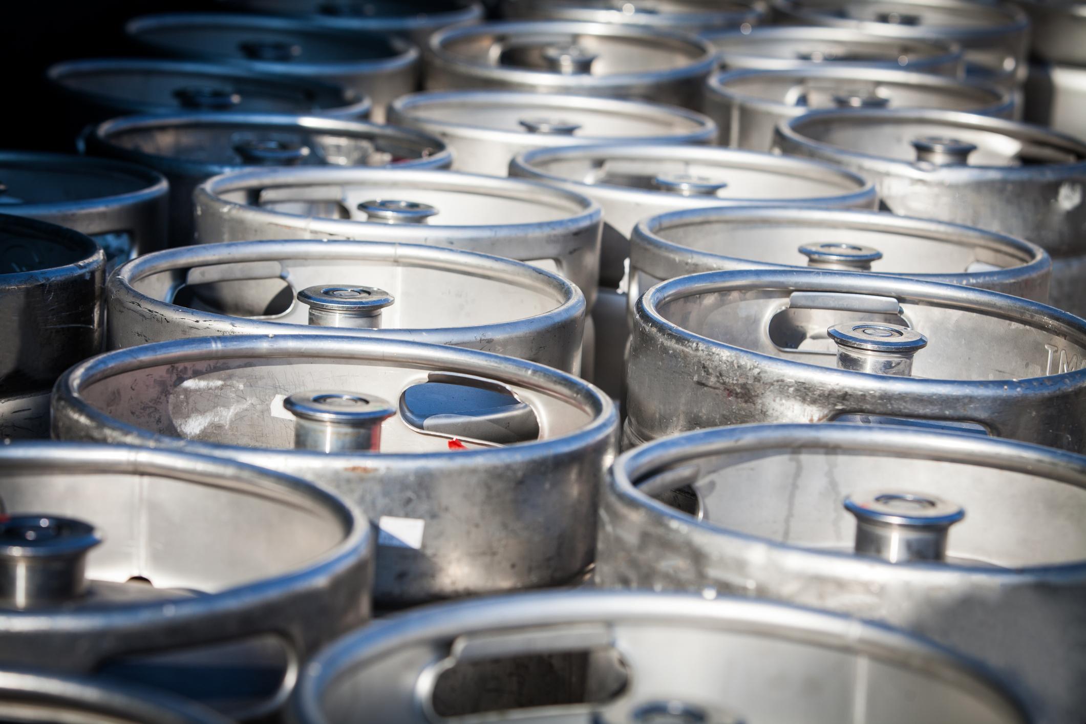 Rows of beer kegs.